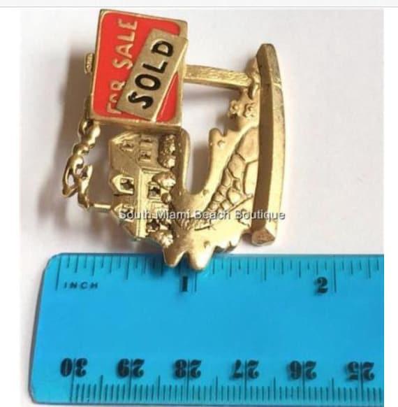 REALTOR PIN Block R Real Estate Agent New Gold Tone Lapel Tie Pin Small