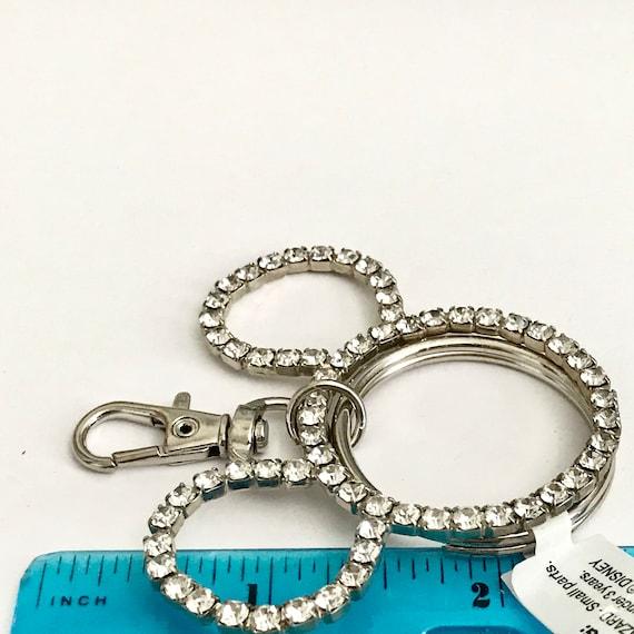 Vintage Disney Rhinestone Mickey Mouse Ears Keychain Purse Charm Zipper Pull Disneyana