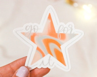 Go For It! Star Sticker | Hydroflask Water Bottle & Journaling Decal | Liquid Acrylic Pour Design Pink, Blue, and Orange | Encouraging