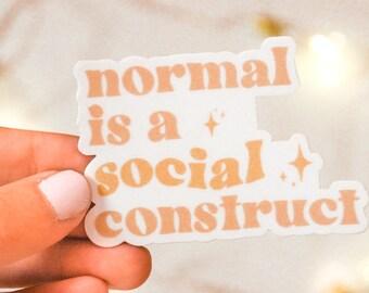 Normal Is A Social Construct Sticker | Retro Boho Pink Neutrals Design | Hydroflask Sticker | Journal Sticker