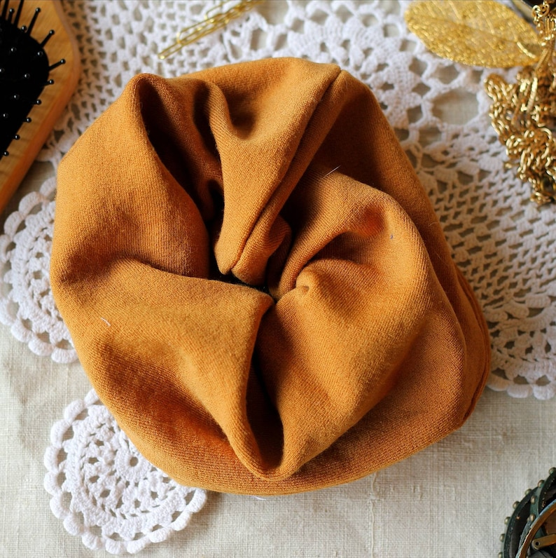 Scrunchie mustard yellow  upcycled collection  made from old image 0