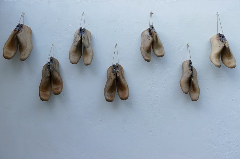 Vintage Wooden Shoe Forms Farmhouse Decor French Country Style Industrial Decor Restaurant Wall Design Indie Shoe Shop Art Shoe Lovers