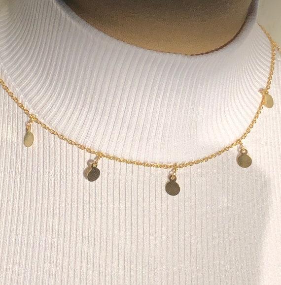 Dainty Choker Necklace Gold Chain Choker Gold Disc Choker Gold Sequin Chain Choker Garnet Choker Gold Coin Chain Garnet Necklace