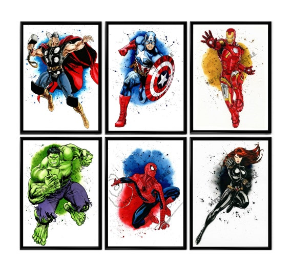 Set 6 Superheroes PRINT, ORIGINAL Watercolor Superhero Avengers Marvel Hulk Captain America