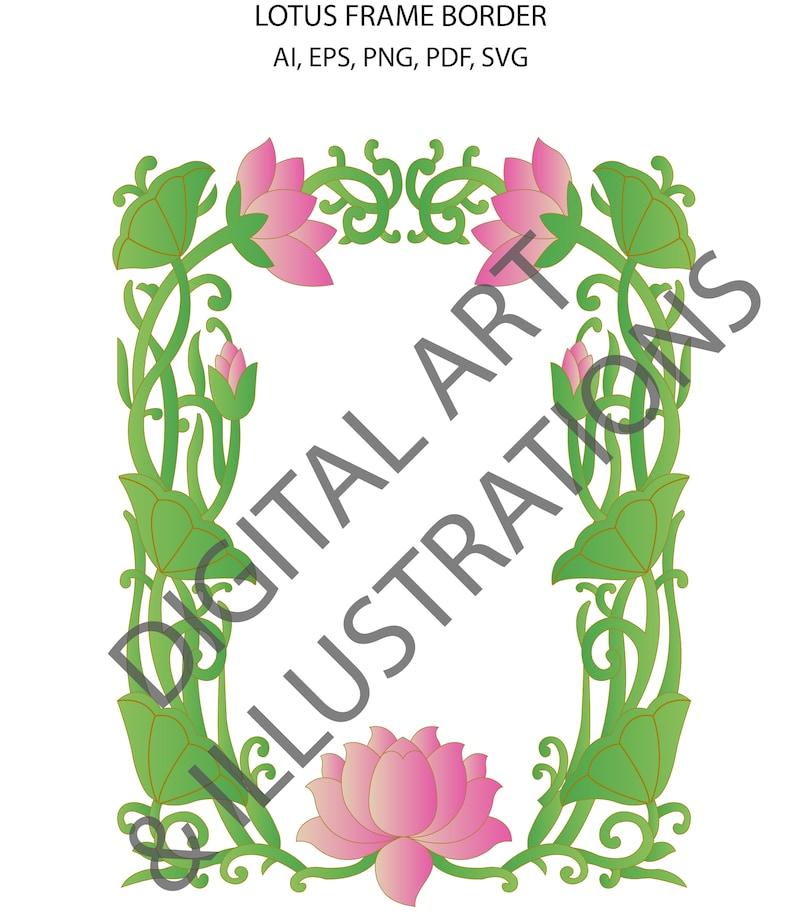 Lotus Frame Border Lotus Digital Illustration Art Lotus Etsy