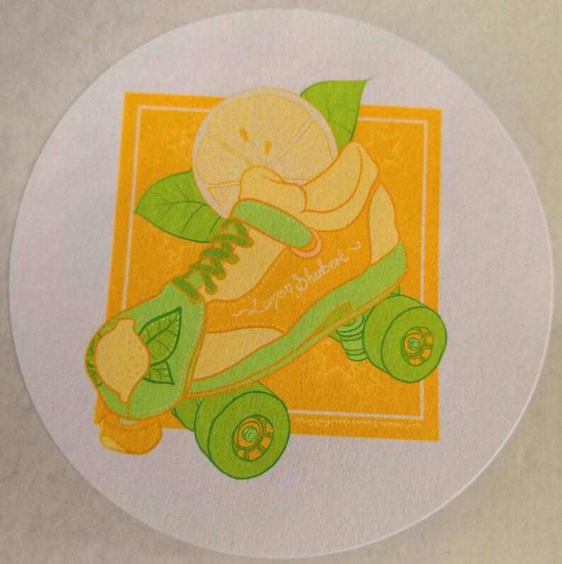 Lemon Sherbet roller skate design 88mm round paper sticker roller derby quad skate
