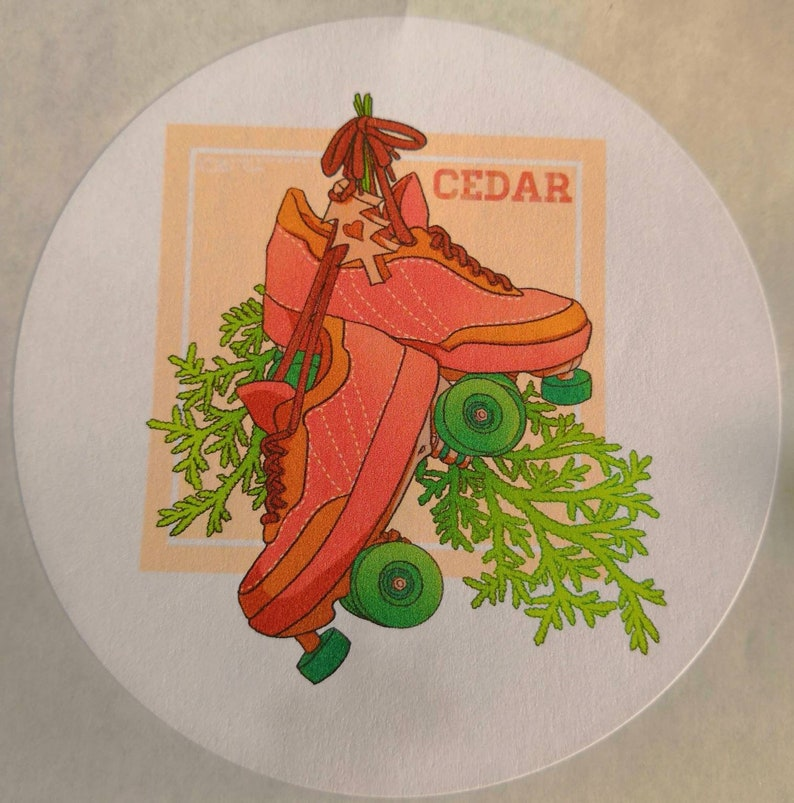 Cedar roller skate design 88mm round paper sticker roller derby quad skate