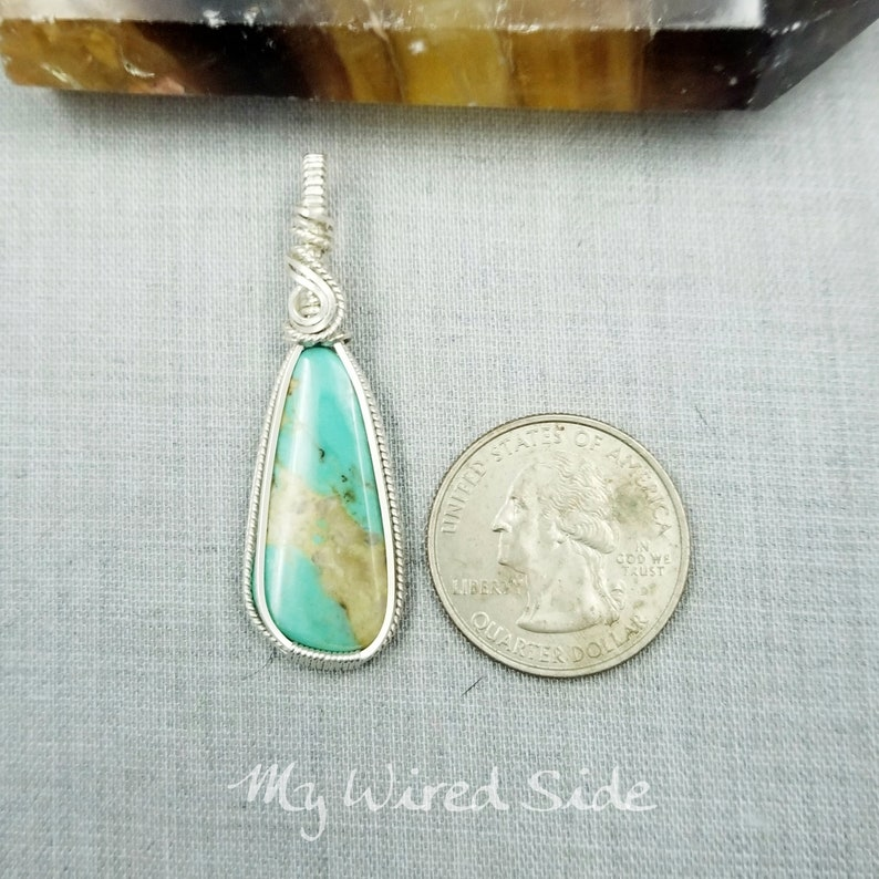 December Birthstone 25th Anniversary Gift Turquoise Pendant 11th Anniversary Stone Silver Anniversary Jewelry Wire Wrapped Pendant