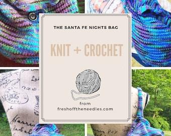 The Santa Fe Nights Bag Pattern by FreshOffTheNeedles digital PDF instant download tutorial knitting pattern crochet pattern hybrid knit