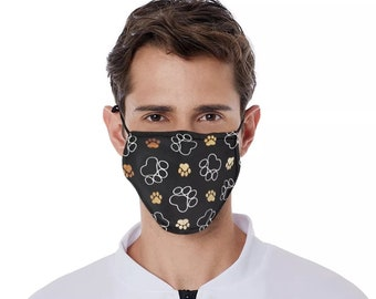 Paw Print mask paw print facemask dog print mask pet lovers mask puppy mask puppy facemask dog mask puppy mask filter pocket nose wire mask