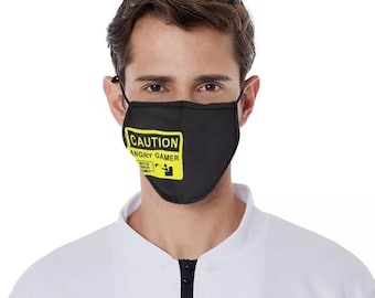 Gamer mask Caution Angry Gamer facemask Angry Gamer mask gaming mask angry mask