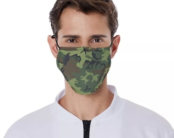 Camouflage mask camo mask camouflage facemask camo facemask army facemask patriot mask with filter pocket and free carbon filter
