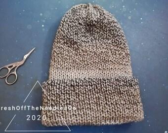 Grey Striped Beanie Tweed Beanie Adult Sized Gray Beanie Hat Winter Hat Warm Knitted Hat Soft Beanie Thick Beanie Solid Soft Unisex Beanie