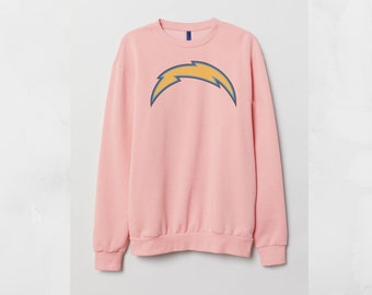 San Diego Chargers Pink Sweatshirt Custom Cotton Jumper Top Retro sweater  Unisex Men 6fcdffd83