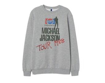 2eb1d1bd144 Michael Jackson Tour Sweatshirt Inspired Cotton Jumper top Retro patch  Unisex Women Iron
