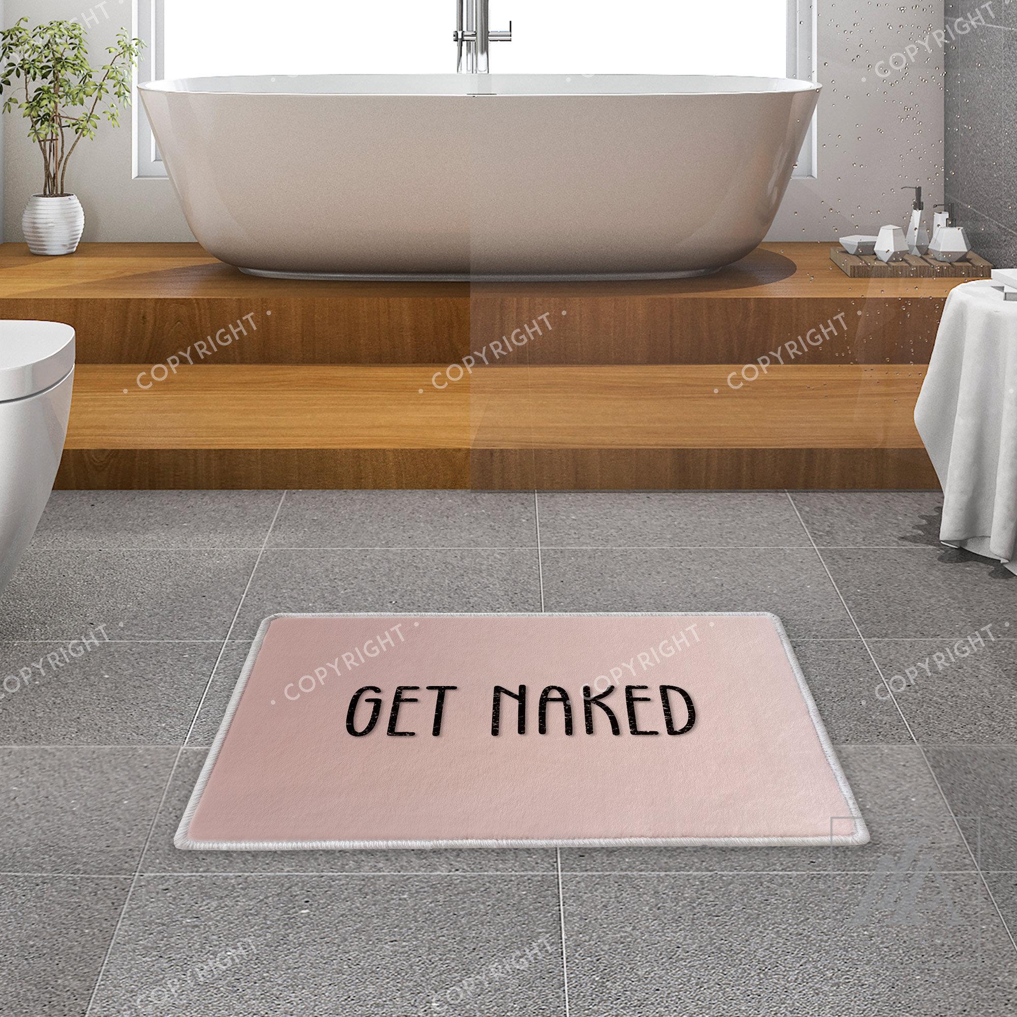 Get Naked Black Background Non-slip Rug Floor Door Carpet Bathroom Decor Mat