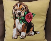 pillows embroidered needlepoint pillow canvas beagle pillow Dog loss gift Cushion cover pillow dog