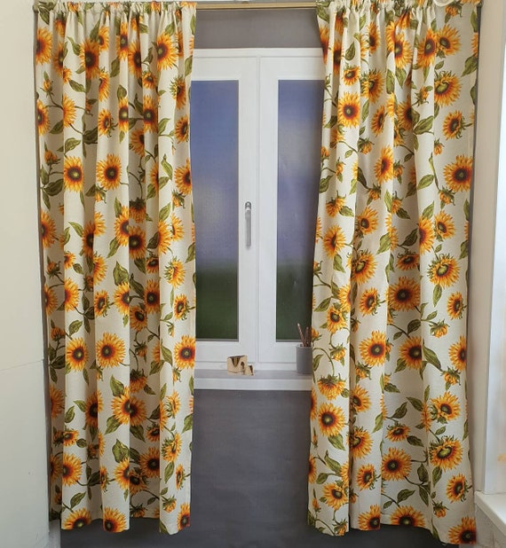 Sunflower Curtains Panels Kitchen Bedroom Etsy