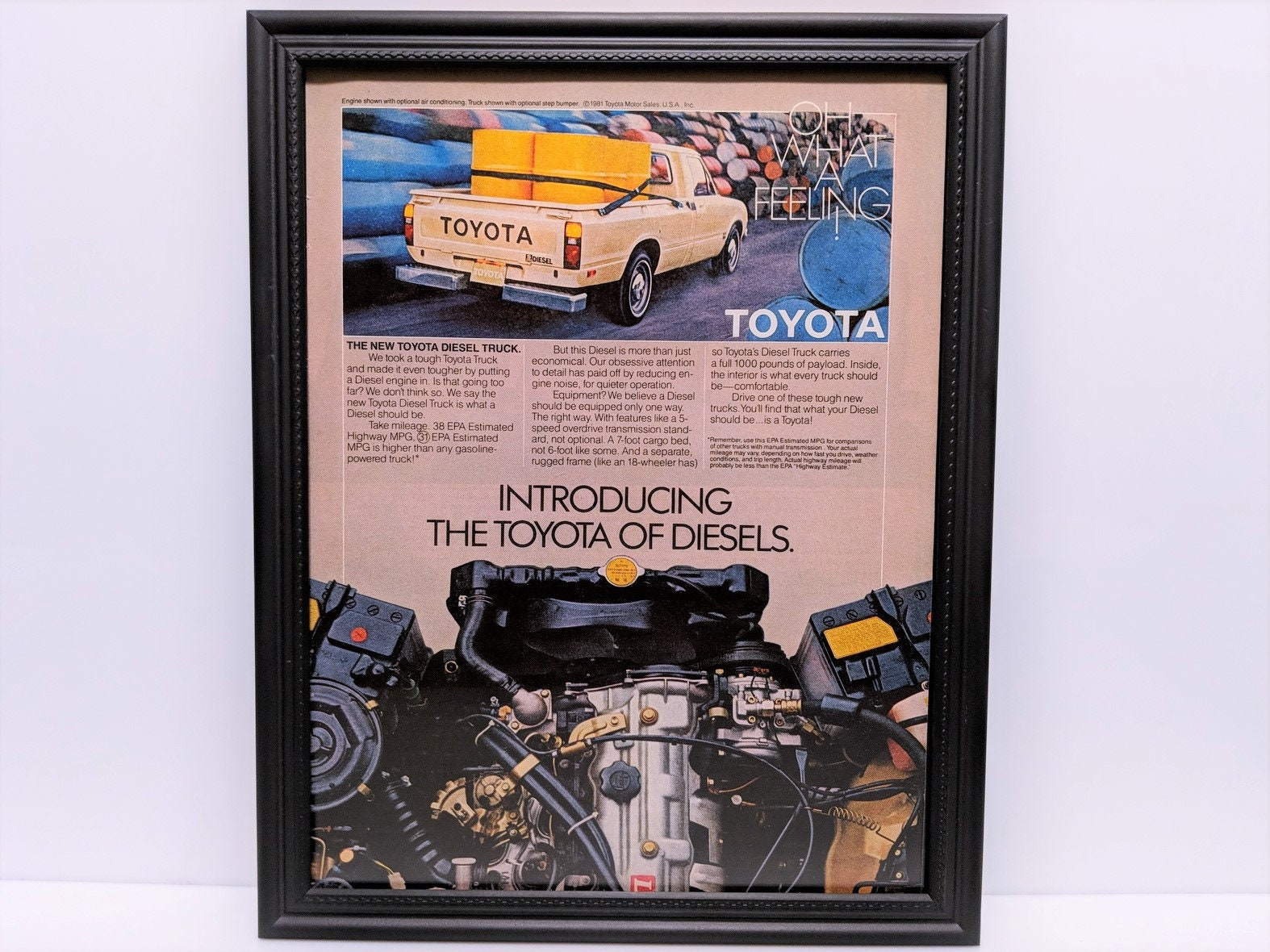 Framed Retro 80's Car Ad 1981 Toyota Diesel Pickup Work Truck Hilux Vintage  Automotive Wall Art Print Poster Advertisement