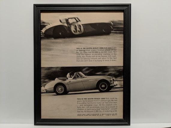 Framed Vintage 60/'s Car Ad 1963 Sunbeam Alpine Series III GT Automotive Advertisement B/&W Classic Wall Art Photo Poster