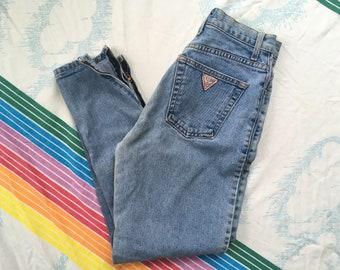Vintage 1980/'s Guess Stonewash Denim Jeans Size Medium 10 Women/'s