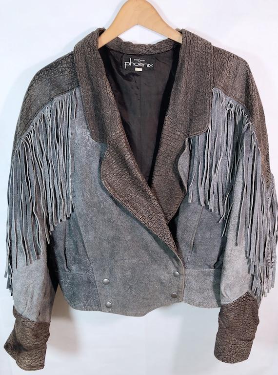 Vintage Fringed Blue Grey Leather Jacket