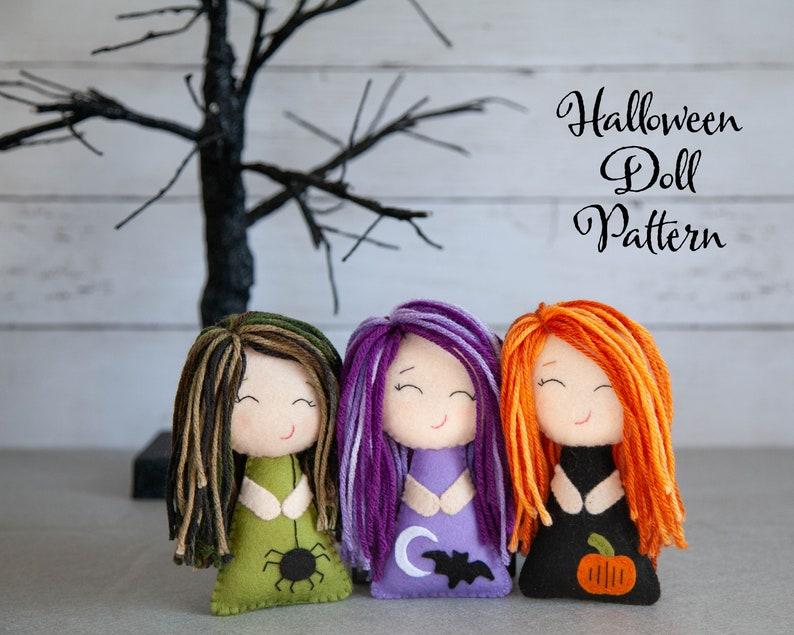 PDF Pattern  Cute Halloween Felt Plush Doll Sewing Tutorial image 0