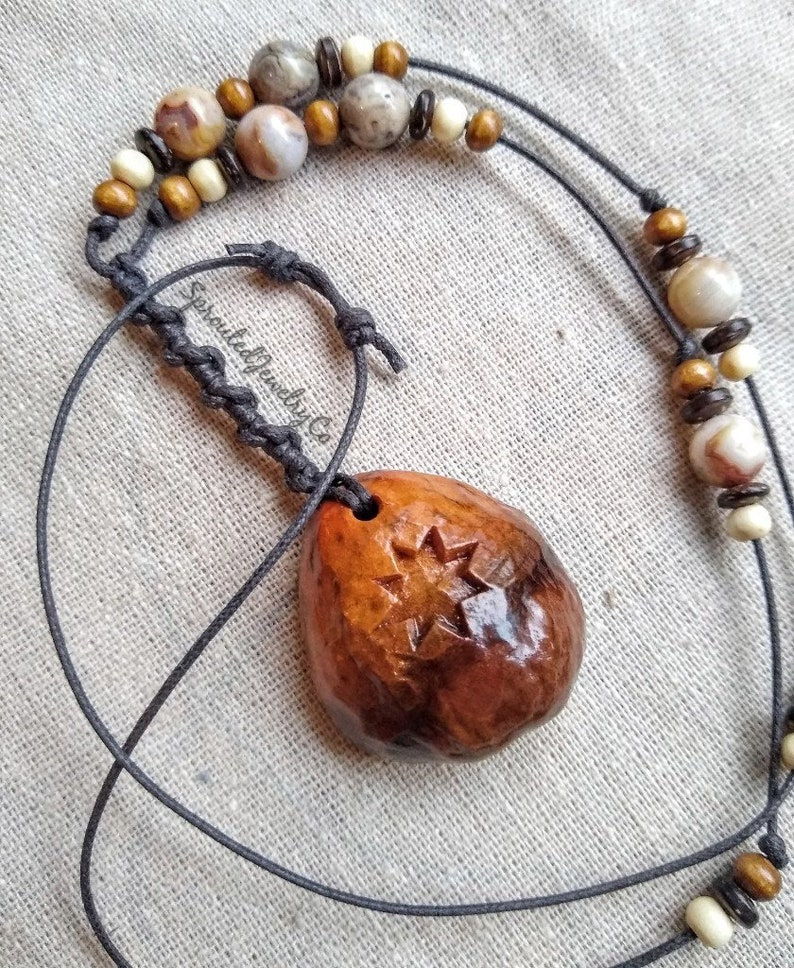 Rustic necklace necklace wood jewelry avocado necklace wood necklace avocado jewelry avocado avocado stone rustic jewelry