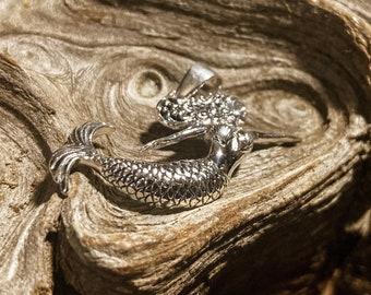 Goddess Designs  Detailed Mermaid Swimming Sterling Silver Pendant