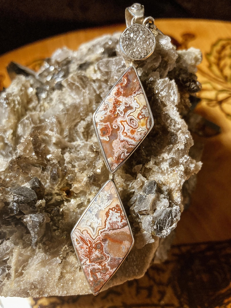 Crazy Lace Agate and Pyrite Diamond Shapes Sterling Silver Statement Pendant