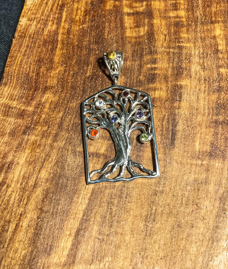 Goddess Designs  Detailed Tree of Life Sterling Silver Pendant with Chakra Alignment Stones and Sun Bail