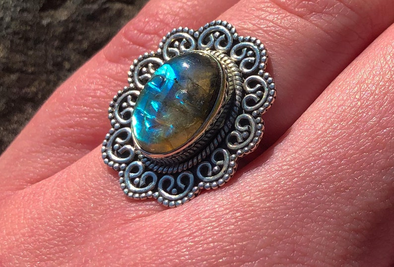 Carved Goddess Face in Labradorite and Sterling Silver Bali Ring