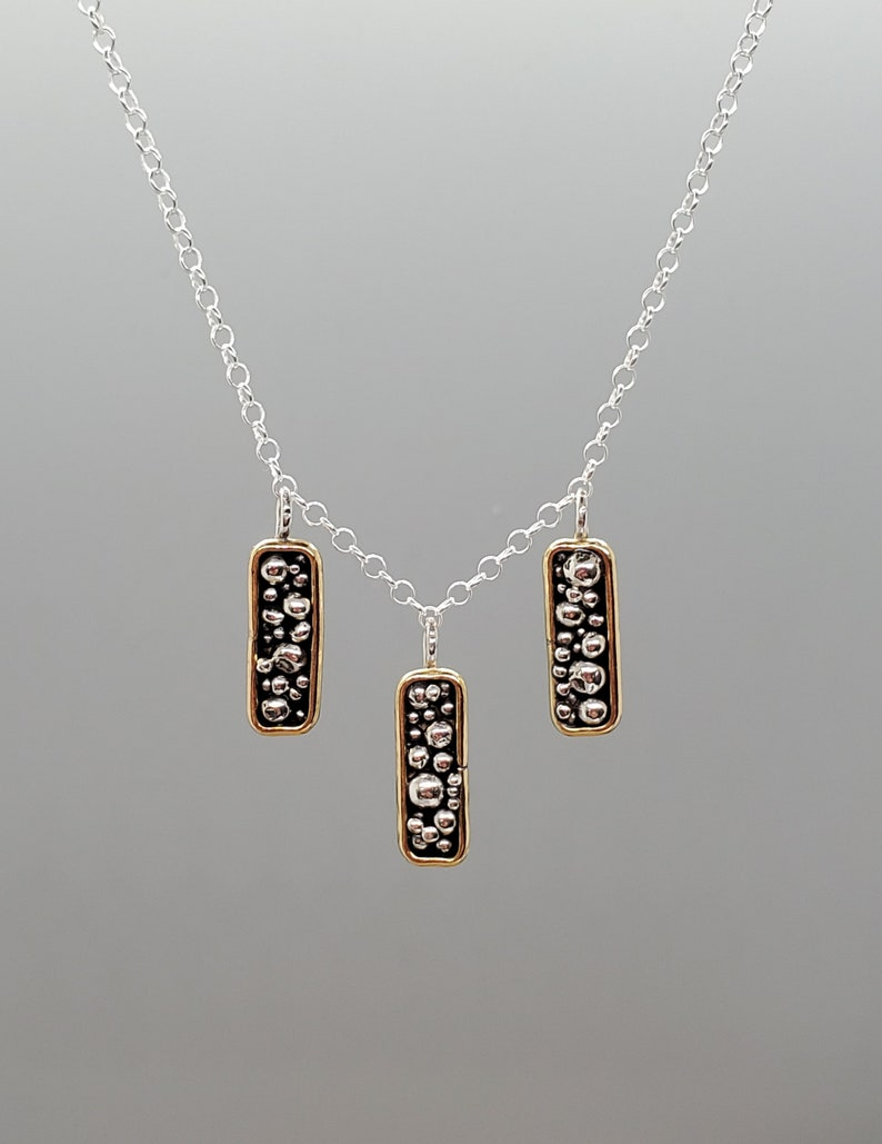 One of a Kind Handmade Necklace Bohemia Necklace Long Rectangle Necklace Sterling Silver Mixed Metals Necklace Granulation Necklace