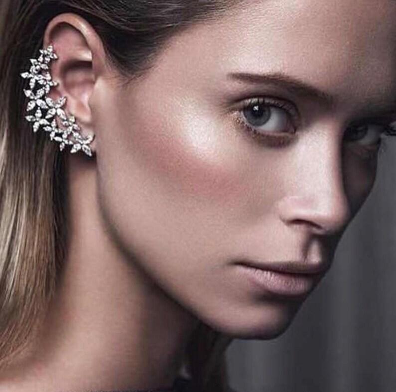 Statement Earrings Wedding Earrings|Cuff Earrings|Wrap Earrings|Star Earrings|Ear climbers white crystal earrings Cherry blossom