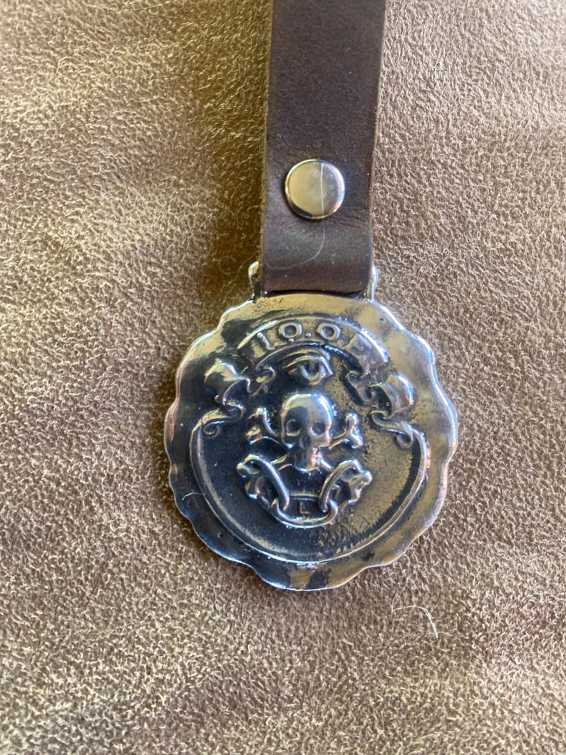 leather key ring added. Momento Mori fob antique art nouveau reproduction piece