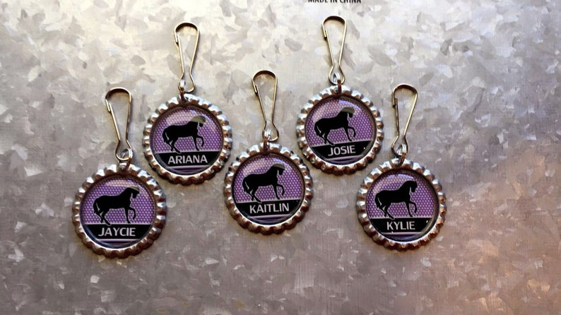 12 Personalized Horse party favors,Girls Horse birthday,Horse necklace party favors,Purple horse party,Purple horse,Custom horse favors