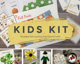 Fall DIY Kids Kit, Printable Learning Pack, Preschool Craft Set, Toddler Games and Activities, Quiet Time, Busy Bag, Independent Play PDF