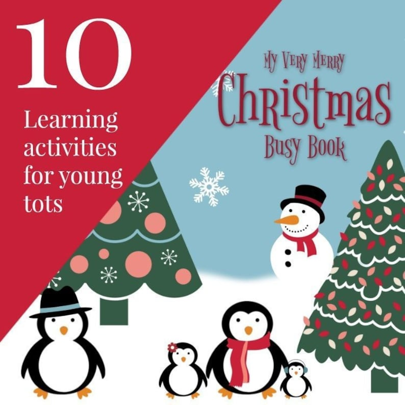 Christmas Quiet Book Toddler Educational Learning Busy Book image 1