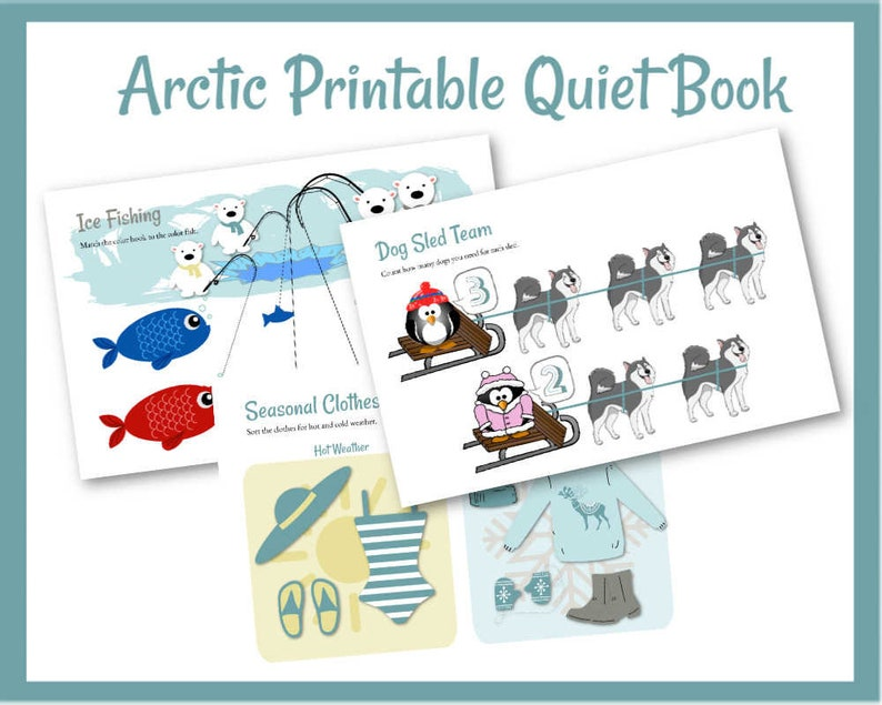 Arctic Quiet Book Educational Busy Book Toddler Learning image 0