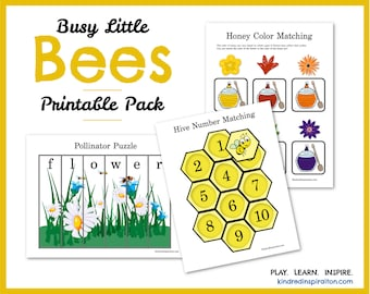 Learning Pack: Busy Bees, Toddler Busy Book, Printable Quiet Book, Preschool Learning Binder, Pre-K Activities and Games , Spring Worksheets