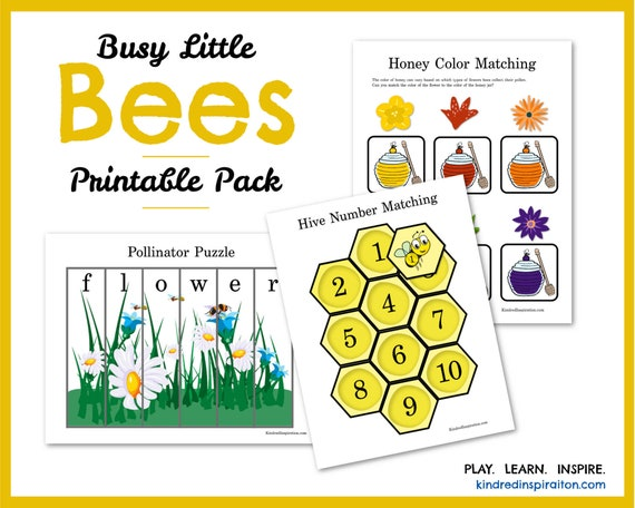 Learning Pack Busy Bees Toddler Busy Book Printable Quiet Etsy