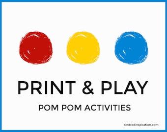 Pom Pom Printable, DIY Kids Kit, Activity Mats, Pre-K Learning Binder, Toddler Busy Bag, Quiet Book, File Folder Game, Fine Motor Craft Pack
