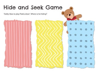 Printable Busy Book Page, Hide-and-Seek File Folder Game, Preschool Learning Binder Activity, Toddler Busy Bag, Quiet Book Worksheet