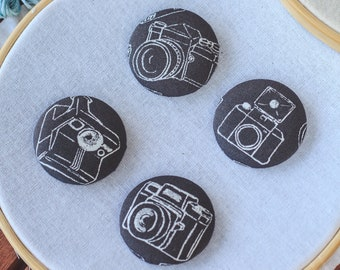 Vintage Camera Magnetic Needle Minder Buttons || Large [38mm] Pair