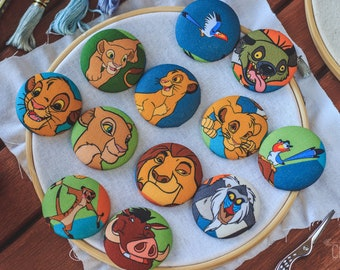 Lion King Magnetic Needle Minder Buttons || Large [38mm] Pair