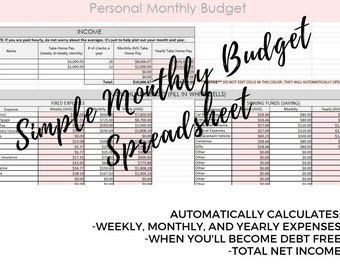 Monthly budget | Etsy