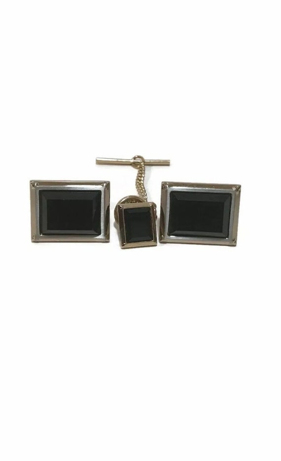 Cuff Links Hickok USA Modernistic Abstract Twins Gemini Ying Yang Goldtone Gold Tone Cuff Links Vintage
