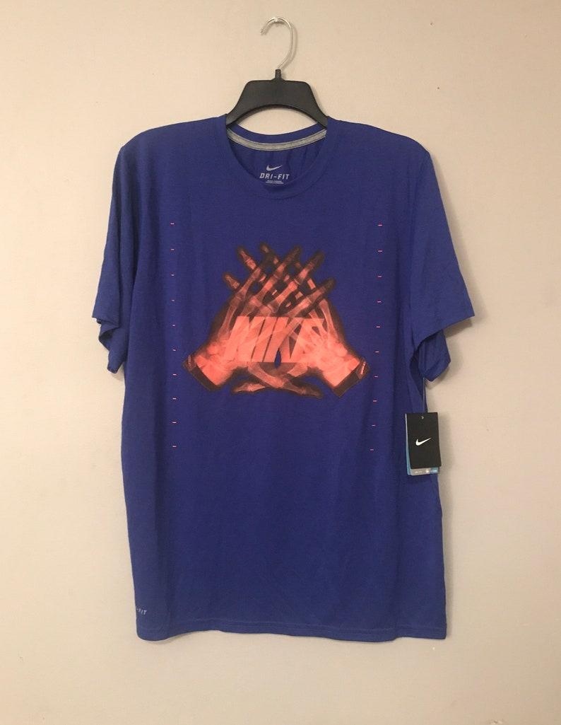 27215f2f Mens Nike dri fit XL t-shirt blue and neon orange | Etsy