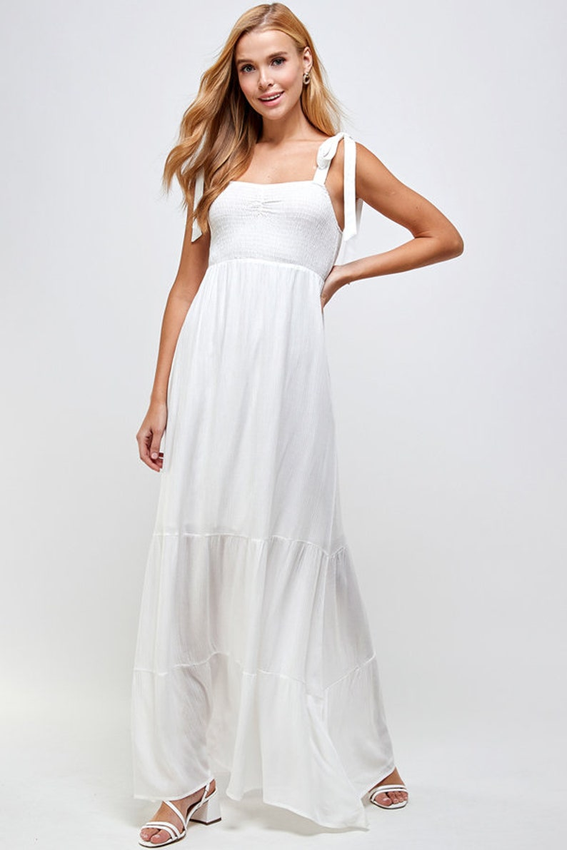Shoulder tie maxi dress  Smocked tiered  maxi dress Tie Shoulder Shirred Ruffle Hem Flowy Dress Unique Dress