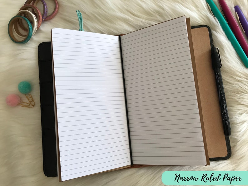 Lined Paper Insert - Standard Traveler's Notebook Planner - Printable PDF  Download - Wide & Narrow Ruled Lined TN Insert - Simple Basic